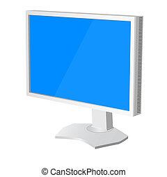 vecteur, lcd, moniteur, blanc, tv, illustration, arrière-plan.
