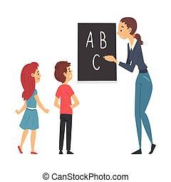 vecteur, leçon, enseignement, illustration, étudiants, prof, classe, femme