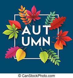 vecteur, leaves., illustration, automne, papier, fond, automne, bannière