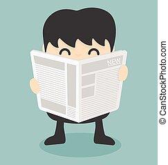 vecteur, lecture, journal., homme affaires