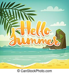 vecteur, lettrage, affiche, été, bonjour, vacances, motivation