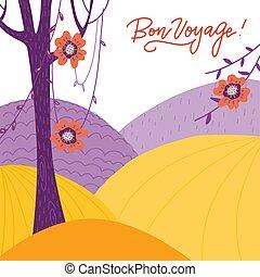 vecteur, lettrage, exotique, gentil, style., parc, bon, outdoor., arbres., voyage., scandinave, plat, résumé, avoir, usines, francais, -, fleurs, vallonné, montagne, voyage, traduction, voyage, paysage, carte