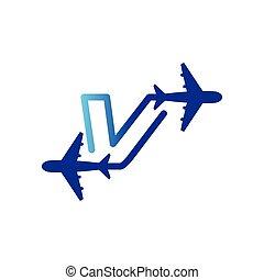 vecteur, lettre, aéroroutes, voyage, initiale, avion, gabarit, v, logo, ligne, element.