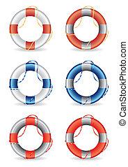 vecteur, lifebuoy, ensemble, illustrati, 6