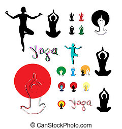 vecteur, lifestyle., yoga, sain, symbole, silhouette, ensemble, icône