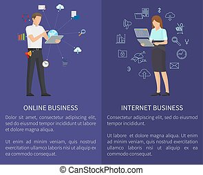 vecteur, ligne, affaires illustration, internet
