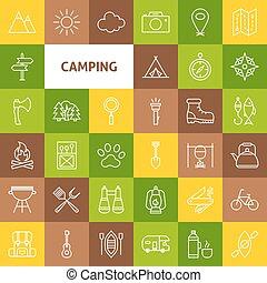 vecteur, ligne, camping, icônes