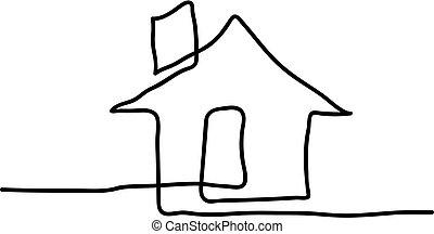 vecteur, ligne, continu, house., dessin