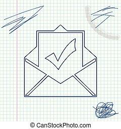 vecteur, ligne, croquis, document, e-mail, réussi, enveloppe, blanc, confirmation, isolé, illustration, livraison, livraison, arrière-plan., email, vérification, concepts., marque, chèque, icône