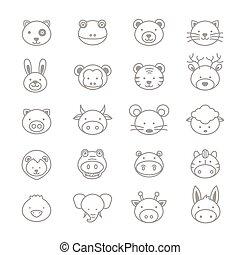 vecteur, ligne, ensemble, animaux, icônes