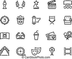 vecteur, ligne, loisir, cinéma, récompenses, film, ensemble télé, divertissement, pellicule, théâtre, icon., pop-corn, symbols.