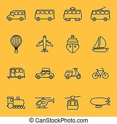 vecteur, ligne mince, icônes, de, transport