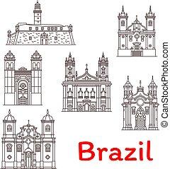 vecteur, ligne, repères, icônes, brésil, architecture