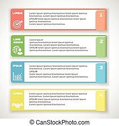 vecteur, lignes, bannières, coupure, doux, infographics, gabarit, website., couleur, numéroté, horizontal, conception, moderne, ou, graphique