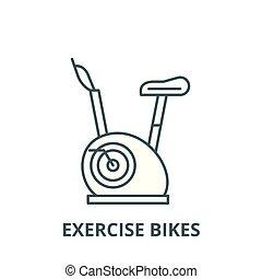 vecteur, linéaire, concept, symbole, signe, vélos, icône, ligne, exercice, contour