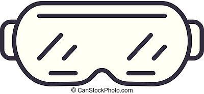 vecteur, linéaire, illustration, concept., symbole, lunettes protectrices, ligne, signe, ski, icône