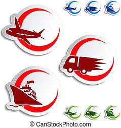 vecteur, -, livraison, avion, voiture, expédition, autocollants, bateau