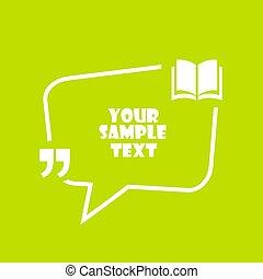 vecteur, livre, conception, cadre, citation