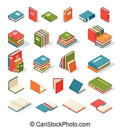 vecteur, livres, isolé, illustration.