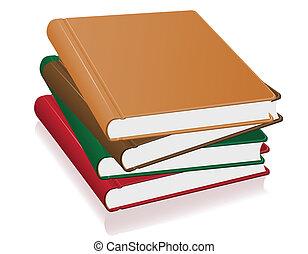 vecteur, livres, pile, illustration