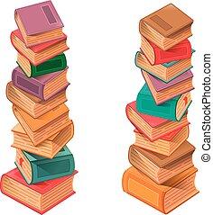 vecteur, livres, pile