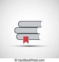 vecteur, livres, piles, icônes