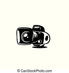 vecteur, logo, appareil photo, minimal, illutration.
