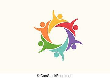 vecteur, logo., communauté, illustration, gens