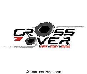 vecteur, logo, concept, conception, crossover