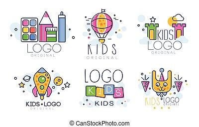 vecteur, logo, cour de récréation, original, club, insignes, enfants, zone, conception, collection, education, gosses, coloré, illustration