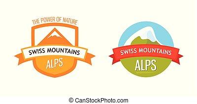 vecteur, logo, de, alpes suisses