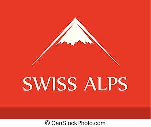 vecteur, logo, de, alpes suisses, sur, arrière-plan rouge