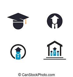 vecteur, logo, education, icône