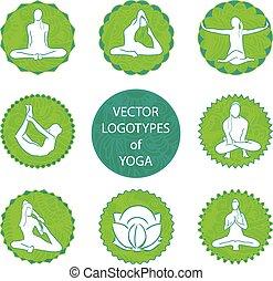 vecteur, logo, ensemble, yoga
