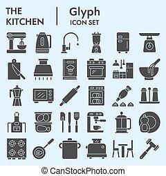 vecteur, logo, illustrations, pictograms, glyph, toile, eps, blanc, cuisine, 10., ensemble, signes, croquis, solide, icône, collection, fond, isolé, symboles, cuisine, paquet