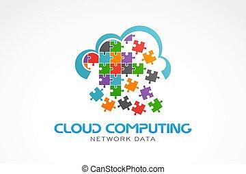 vecteur, logo., nuage, illustration, calculer
