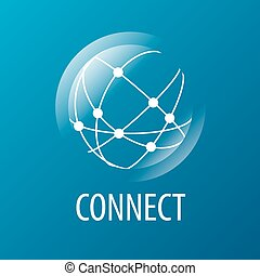 vecteur, logo, réseau global, relier