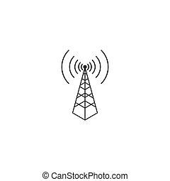 vecteur, logo, sans fil, illustration, tour, icône