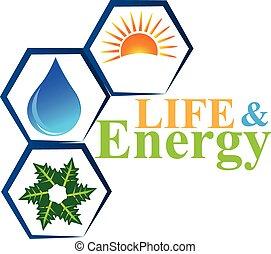 vecteur, logo, vie, éléments, énergie