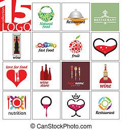vecteur, logos, cafés, collection, restaurants