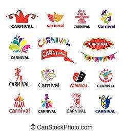 vecteur, logos, ensemble, carnaval, grand