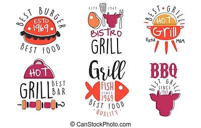 vecteur, logos, illustration., gril barbécue, ensemble, bar.