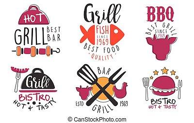 vecteur, logos, illustration., gril barbécue, ensemble, bar., minimalistic