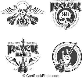 vecteur, logos, insignes, vendange, étiquettes, ensemble, musique, rocher, emblèmes