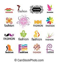 vecteur, logos, mode, collection, plus grand