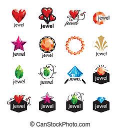 vecteur, logos, moderne, bijouterie, collection