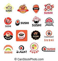 vecteur, logos, sushi, collection, plus grand