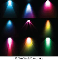 vecteur, lumière, ensemble, sources., coloré