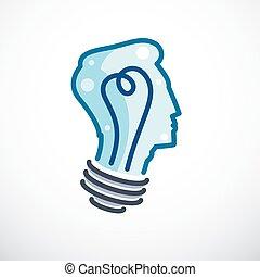 vecteur, lumière tête, personne, esprit, pensée, intelligent, idée, créatif, forme, cerveau, clair, profile., brain-storming, enfant, ampoule, icon., logo., concept