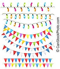 vecteur, lumières, illustration, arrière-plan., anniversaire, drapeaux, blanc, vacances, instruments à cordes
